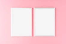 Two White Photo Frames With Copyspace On Pink Background