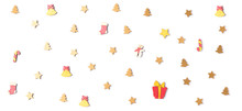 Christmas Pattern Background With Festive Gold Decorations
