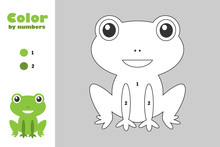 Green Frog In Cartoon Style, Color By Number, Education Paper Game For The Development Of Children, Coloring Page, Kids Preschool Activity, Printable Worksheet, Vector Illustration