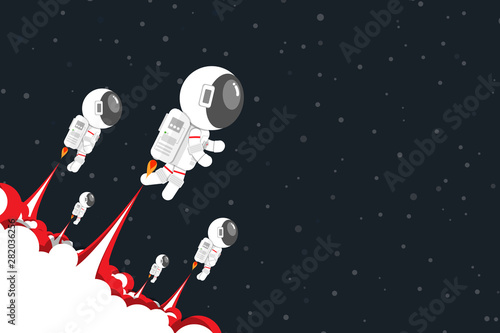Flat design, Astronauts team launch jet engine with red smoke Go out into space, Vector illustration, Infographic Element