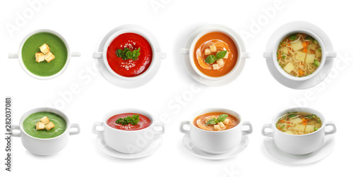 Obraz Fresh vegetable detox soup with croutons in dish on white background - fototapety do salonu