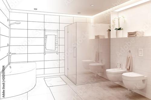Cuadros en Lienzo  3d illustration. Sketch of modern white bathroom interior