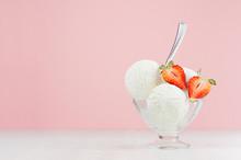 Creamy Ice Cream Scoops In Gla...