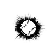 White Baseball Symbol With Black Grunge Frame Isolated On White Background