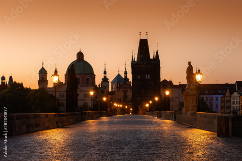 Charles Bridge at sunrise in Prague, Czech Republic Canvas Print