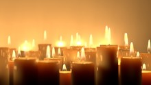 Candle Lit Ceremonial Ritual Mixture Of Sizes