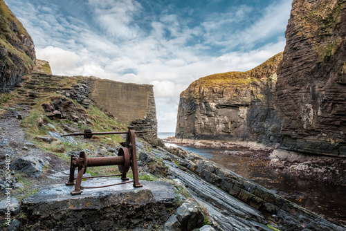 Photo  Old winch at Whaligoe Harbour in Scotland