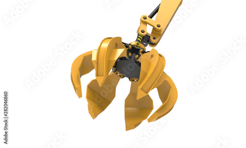 Fotografie, Tablou 3d rendering yellow black peel grab bucket isolated on white background