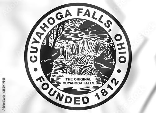 Valokuvatapetti 3D Seal of Cuyahoga Falls (Ohio), USA. 3D Illustration.
