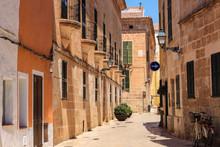 Empty Street Of Ciutadella Town In Hot Summer Noon, Menorca, Spain