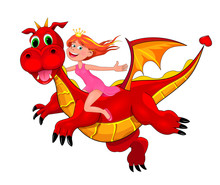 Little Princess And Red Dragon. Little Joyful Girl Sits Astride A Red Dragon. Girl And Flying Dragon