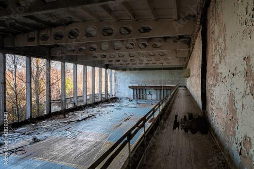 Abandoned staircase angle shot