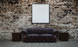 Leinwanddruck Bild - Loft living room interior design and brick wall texture background and picture frame