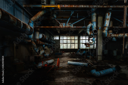 Dark industrial interior of factory in Chernobyl