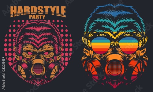 Fényképezés Gorilla Mask Retro hard party vector illustration