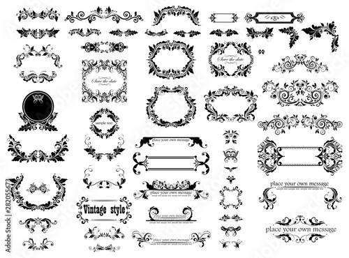 Fényképezés  Vintage floral decorative frames, headers and title collection for wedding and h