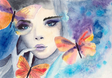 Watercolor Portrait Of A Beautiful Girl With Blue Eyes And Colorful Butterflies