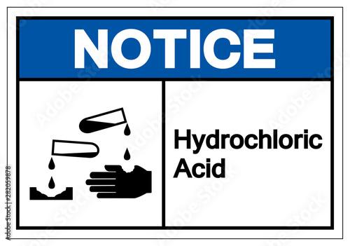 Obraz na plátně  Notice Hydrochloric Acid Symbol Sign ,Vector Illustration, Isolate On White Background Label