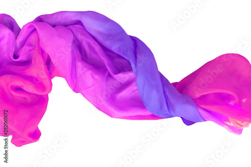 Fotografering  natural, delicate twisted silk tinted in pink and purple colors, isolate