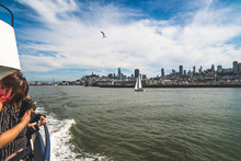 San Francisco, California, USA - MARCH 15 2019: Tourists On A Boat Tour In San Francisco With Wonderful View From The Boat