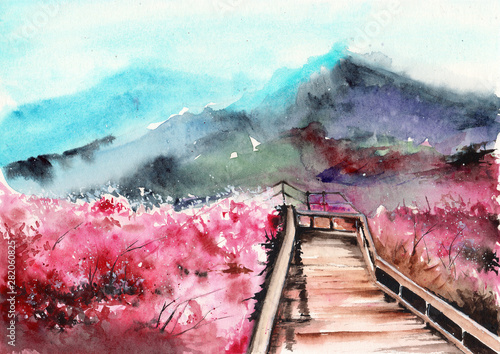 Poster Lichtroze Watercolor picture of blooming sakura trees, wood bridge and misty distant mountains