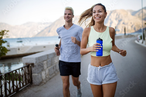 Healthy Sporty Lifestyle Happy Fit People Friends