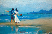 A Couple In Love A Guy And A Girl In A White Dress With Flowers In Their Hands On The Beach. Painting On Canvas