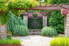 Landscape Architecture With Pergola And Water Features For Summer Garden