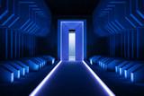 Fototapeta Perspektywa 3d - Abstract blue tunnel