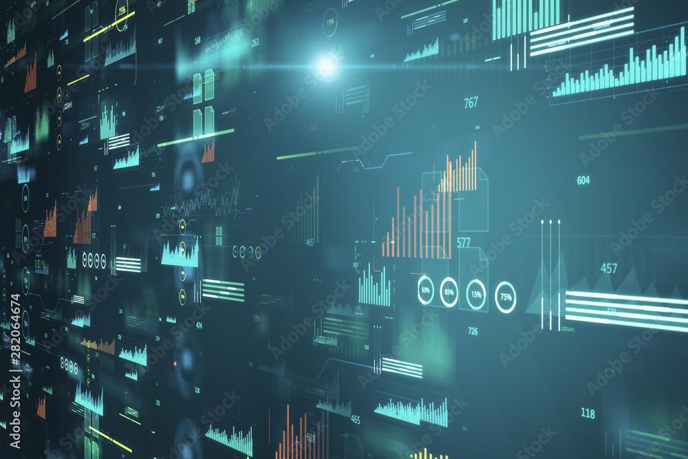 Fototapeta Creative big data charts texture