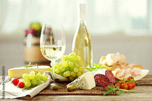 Poster Pays d Asie Still life with various types of Italian food and wine