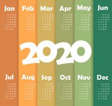Vector Calendar 2020 Year. Wee...
