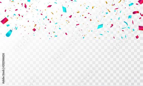 Fototapeta Celebration background template with confetti and colorful ribbons. obraz na płótnie