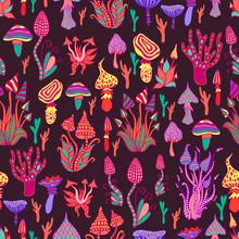 Hallucinogenic, Decorative, Fantastic Mushrooms, Each Mushroom Has Its Own Pattern. Psychedelic Mushroom Seamless Pattern.