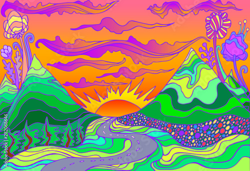 Photographie  Retro hippie style psychedelic landscape  with mountains, sun and the road going into the sunset
