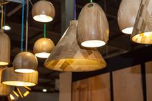 Set Of Wooden Modern Ceiling Light Fixtures