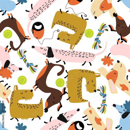 obraz lub plakat seamless pattern with colorful dogs balls ropes - vector illustration, eps