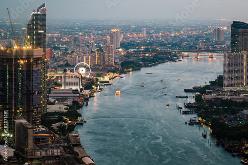 Photo  Cityscape of Bangkok City Asia Thailand at night
