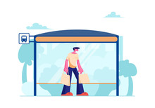 Young Man With Shopping Bags Stand On Bus Station With Bench Waiting Public City Transport. Transportation Service, Citizen On Bus Stop, Traffic, Dweller Lifestyle Cartoon Flat Vector Illustration