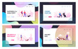 People Spend Time with Pets Outdoors Website Landing Page Set. Characters Walking and Playing with Dogs Relaxing Open Air. Leisure Care of Animals Web Page Banner. Cartoon Flat Vector Illustration