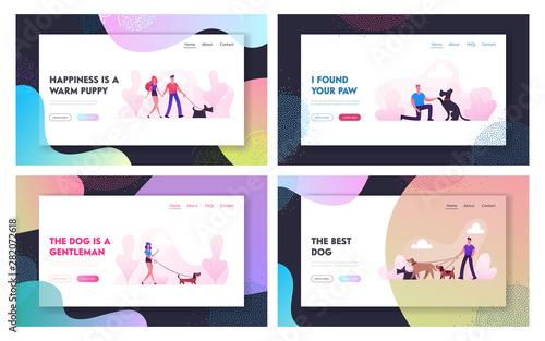 Fototapety, obrazy: People Spend Time with Pets Outdoors Website Landing Page Set. Characters Walking and Playing with Dogs Relaxing Open Air. Leisure Care of Animals Web Page Banner. Cartoon Flat Vector Illustration