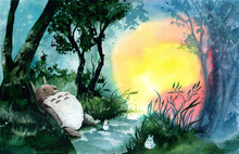Watercolor Picture Of Sleeping  Totoro In Green Forest