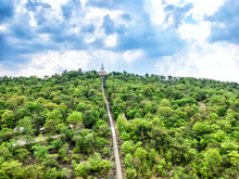 Aerial View White Buddha At Wat Phra Bat Phu Pan Kham Temple In Khon Kaen Province.Popular Place To Visit In Khon Kaen.translate : Created In 1971, White Buddha Name Phu Pan Kham.