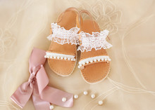 Baptism Baby Shoes With White Lace And Pearls - Greek Leather Sandals - Christening Shoes