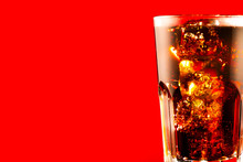 Coke With Ice Cubes Closeup. G...
