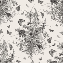 Seamless Vector Pattern With Victorian Bouquet And Butterflies. Garden Flowers. Black And White