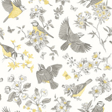 Seamless Pattern. Classis Vintage Illustration. Blossom Garden With Tits. Birds And Flowers. Yellow And Gray