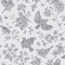 Seamless Pattern. Classis Vintage Illustration. Blossom Garden With Tits. Birds And Flowers. Toile De Jouy