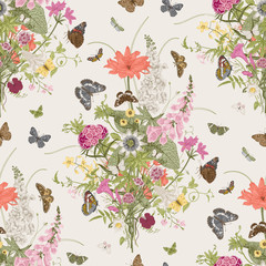 Panel Szklany Podświetlane Florystyczny Seamless vector pattern with Victorian bouquet and butterflies. Garden flowers. Colorful