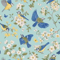 FototapetaSeamless pattern. Classis vintage illustration. Blossom garden with tits. Birds and flowers.